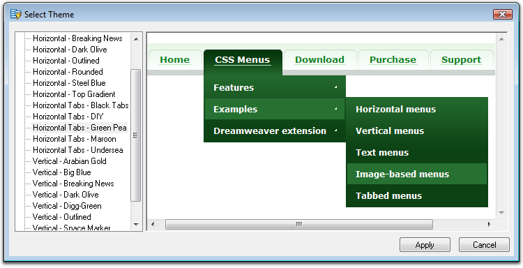 Advanced CSS Drop Down Menu Screenshot