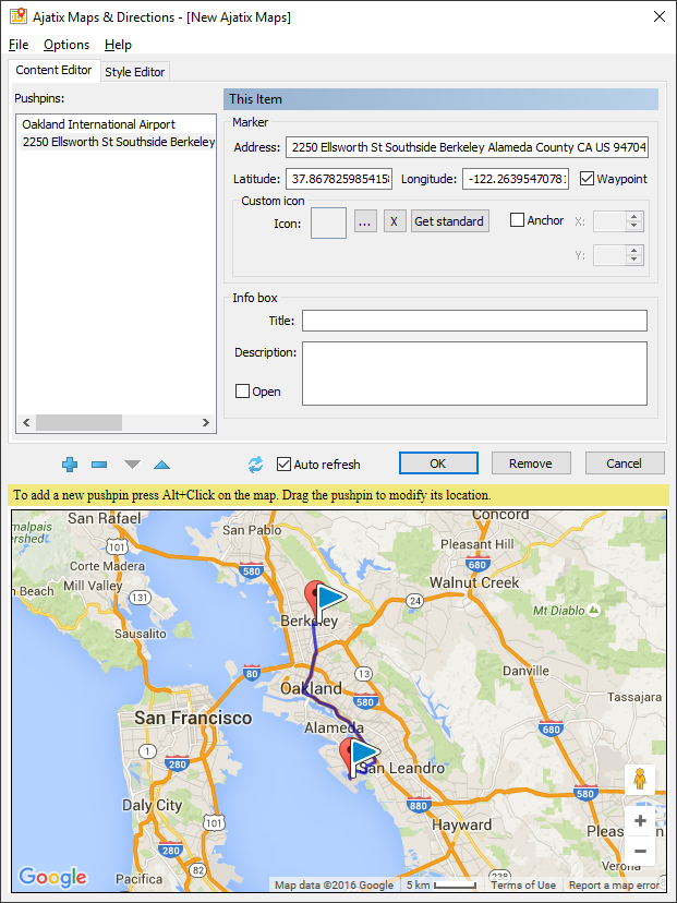 maps directions expression web add in