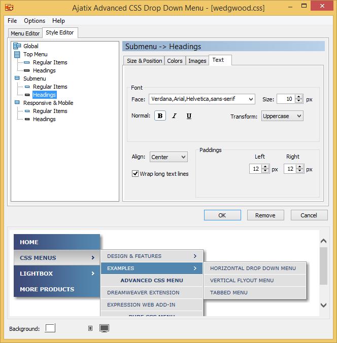 Text Decoration Italic: Advanced CSS Drop Down Menu Dreamweaver Extension